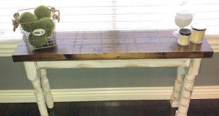 Dark walnut rustic farmhouse table w/ white mismatched legs