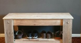 Entryway Bench With Storage, Shoe Bench Made From Reclaimed Wood, Pallet Wood
