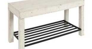 Kate and Laurel Jeran White Wood Farmhouse Entryway Bench with Iron Shoe Shelf (Rustic White)