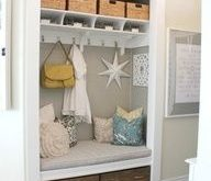 Organized comfort with our small entryway…turn closet into this. Easy. Hello D…