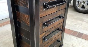 Vintage Industrial Chest of Drawer/ Dresser/ Storage. Blackened Steel with Hardwood top and Reclaimed Woods