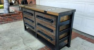 Vintage Industrial Reclaimed 6 Drawer Dresser/Chest of Drawers/Storage/ Entryway Table, Console